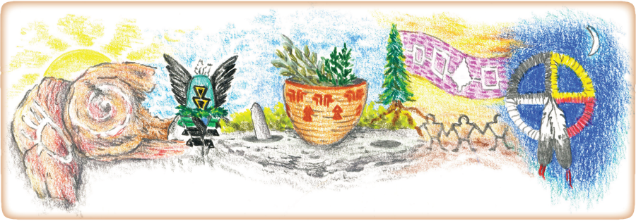Pastel painting of California indigenous people's artifacts and tools including from left to right the rising sun behind rock glyphs, an ornamental headdress of feathers and painted symbols, a handmade basket with freshly picked herbs, a mountain pine tree and a decorated dream catcher behind a new moon at night all on a large rock grind stone with a pestle in one of the grind holes.