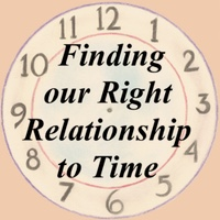 The Finding the Right Relation to Time Poster background is a veil watercolor painting of clouds parting in the middle to clear blue sky. The clock face numerals are hand drawn with text in the middle for the title.