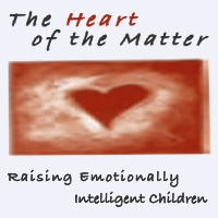 Poster for event: 'Heart of the Matter, Raising Emotionally Intelligent Children.' The top half is a pastel coloring of a carnelian heart in front of a swirl of red and white light.